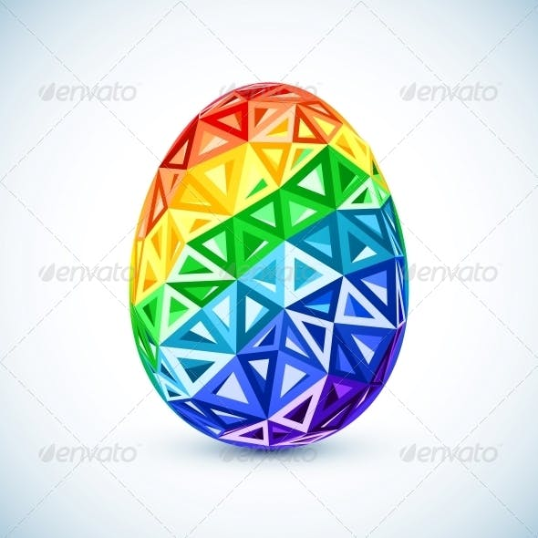 Abstract Geometry Triangles Rainbow Easter Egg