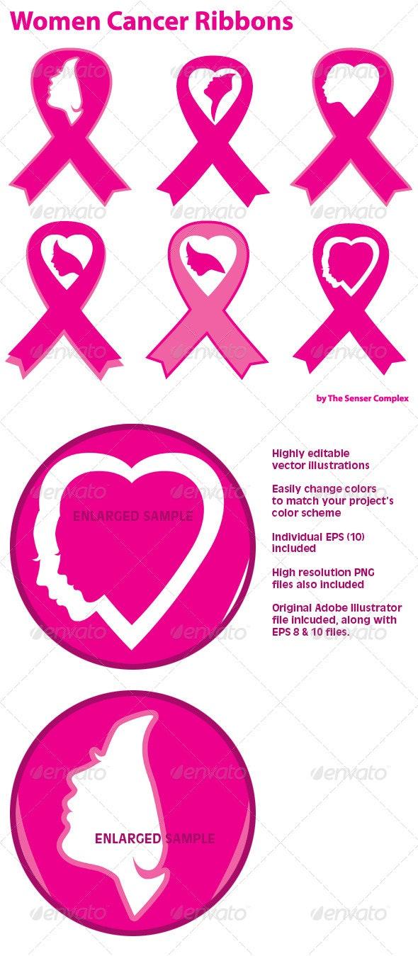 Women Cancer Ribbons - Health/Medicine Conceptual
