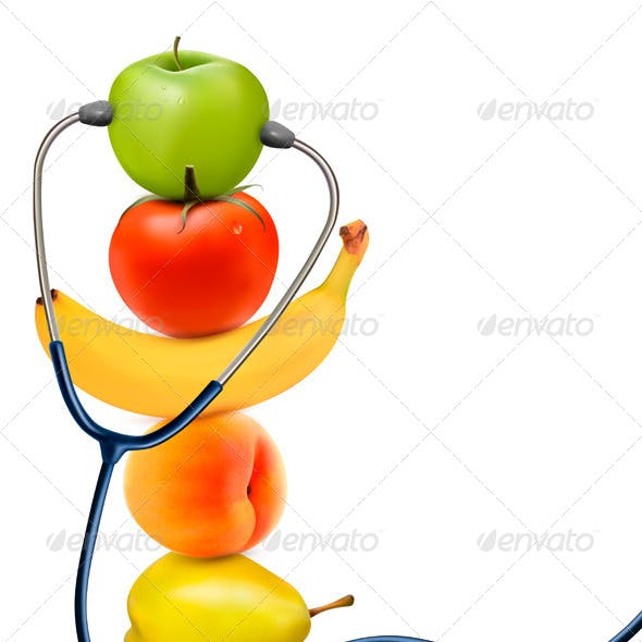 Fruit with a Stethoscope Healthy Eating Concept