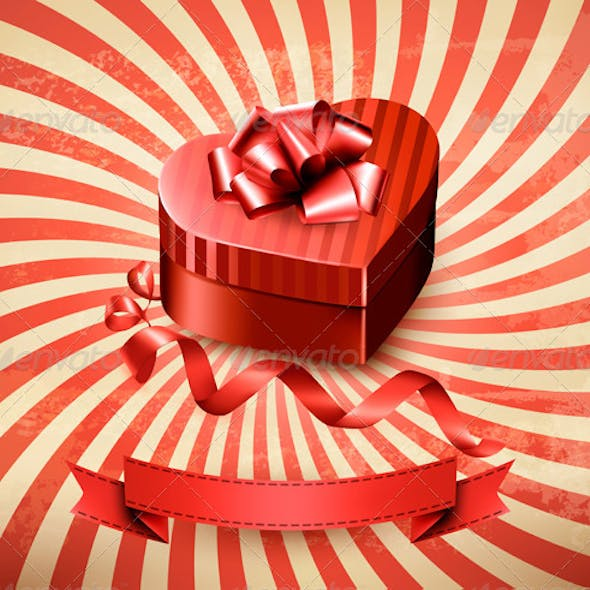 Heart-Shaped Gift Box on Retro Background