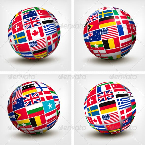 Flags of the World in Globe