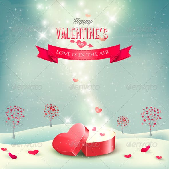 Valentines Day Background with an Open Box