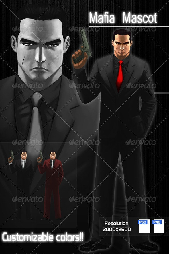 Mafia Character Design - Characters Illustrations