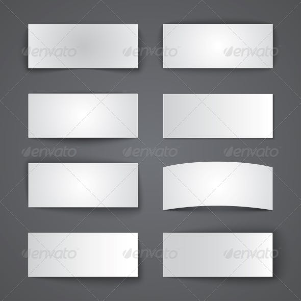 Set of Blank Paper Banners with Shadows