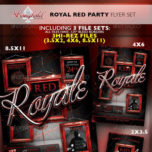 Royal Red Party VIP Event Flyer Template Set