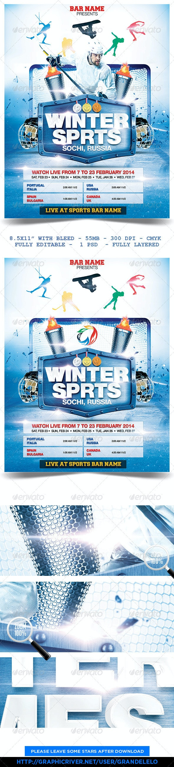 Winter Sports Poster Template - Sports Events