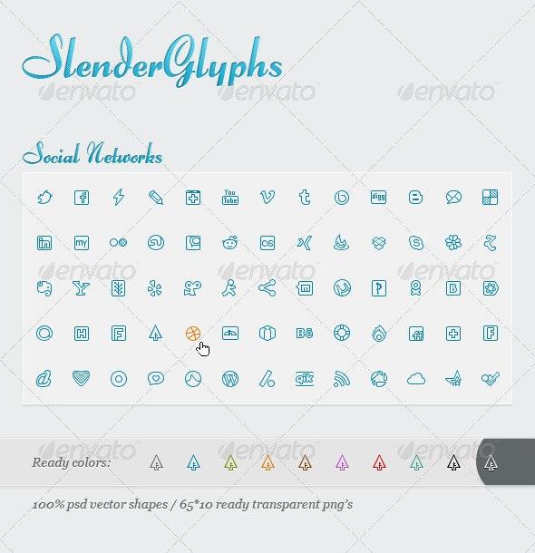 Slender Glyphs: Social Network Icon Set - Web Icons