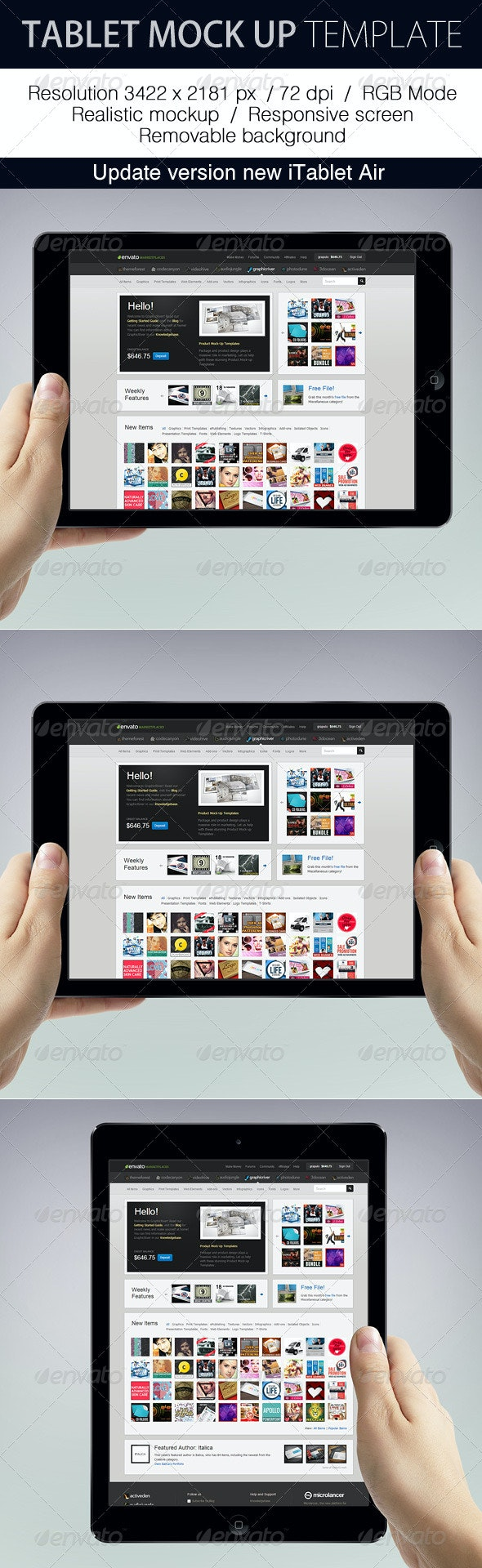 Tablet Mockup Template - Product Mock-Ups Graphics
