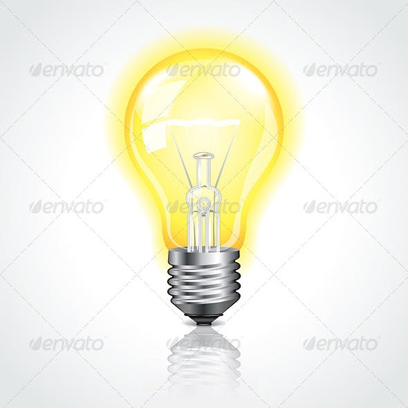 Glowing Lightbulb Vector Illustration