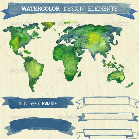 Watercolor Design Elements Hand Drawn