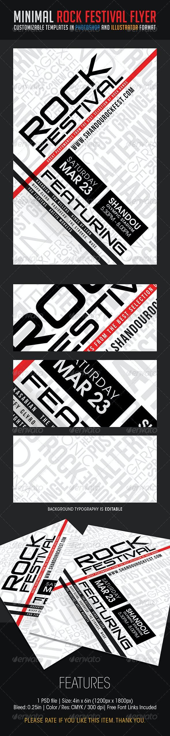 Minimal Rock Festival Flyer - Concerts Events