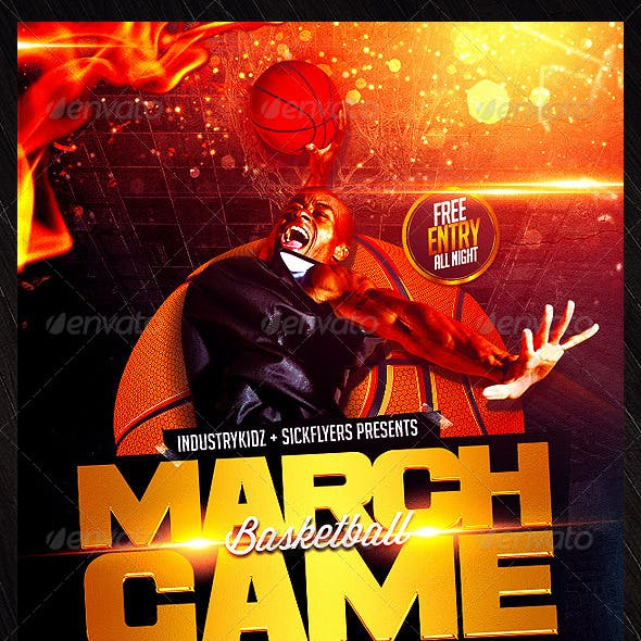 March Game Basketball Flyer Template
