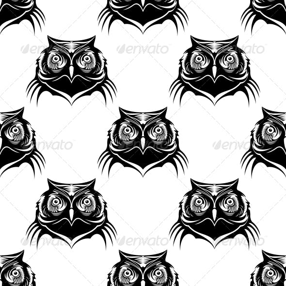 Seamless Pattern Illustration of an Owl Head