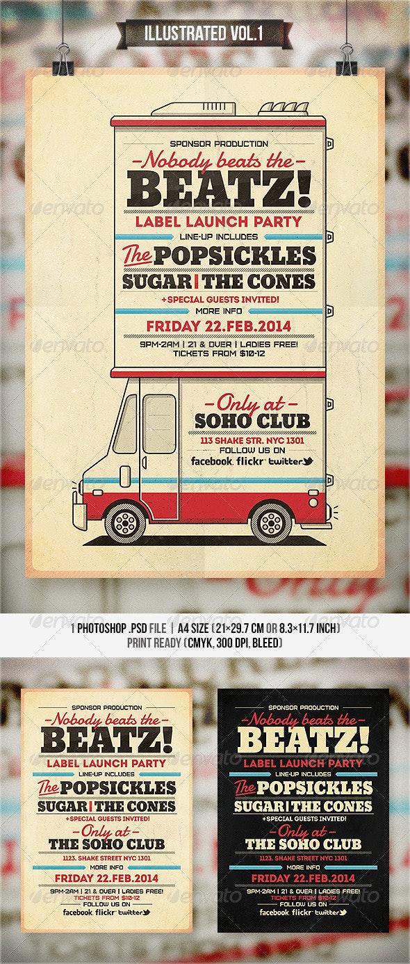 Illustrated Vol.1 - Flyer & Poster - Concerts Events