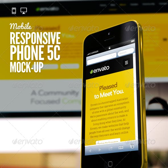 Responsive Devices Phone 5C Desktop Mock-Up