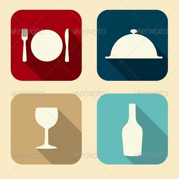 Modern Flat Food Icon Set