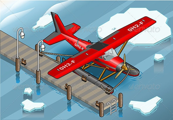 Isometric Artic Hydroplane at Pier - Objects Vectors