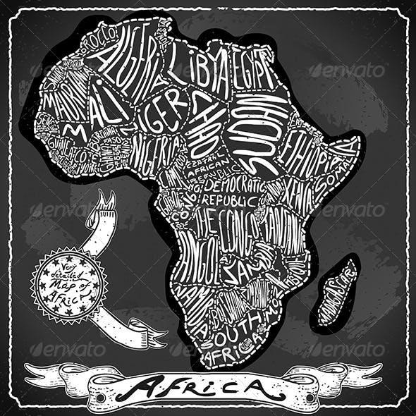 Africa Map on Vintage Handwriting BlackBoard