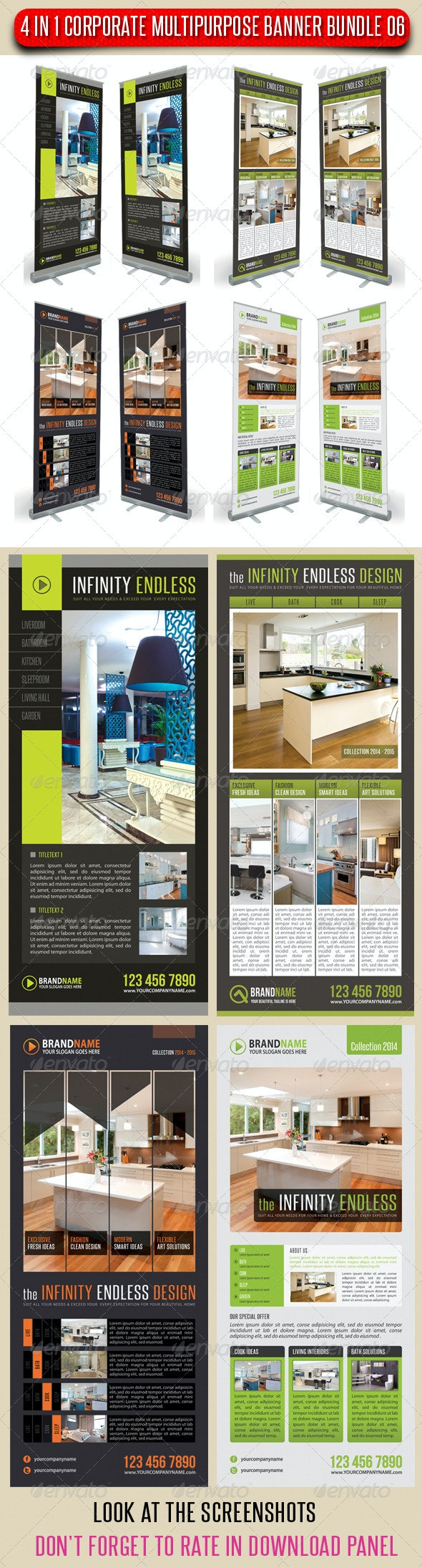 4 in 1 Corporate Multipurpose Banner Bundle 06 - Signage Print Templates