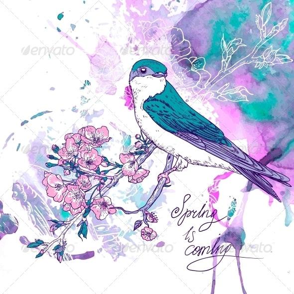 Spring Cherry Background with Birds - Patterns Decorative
