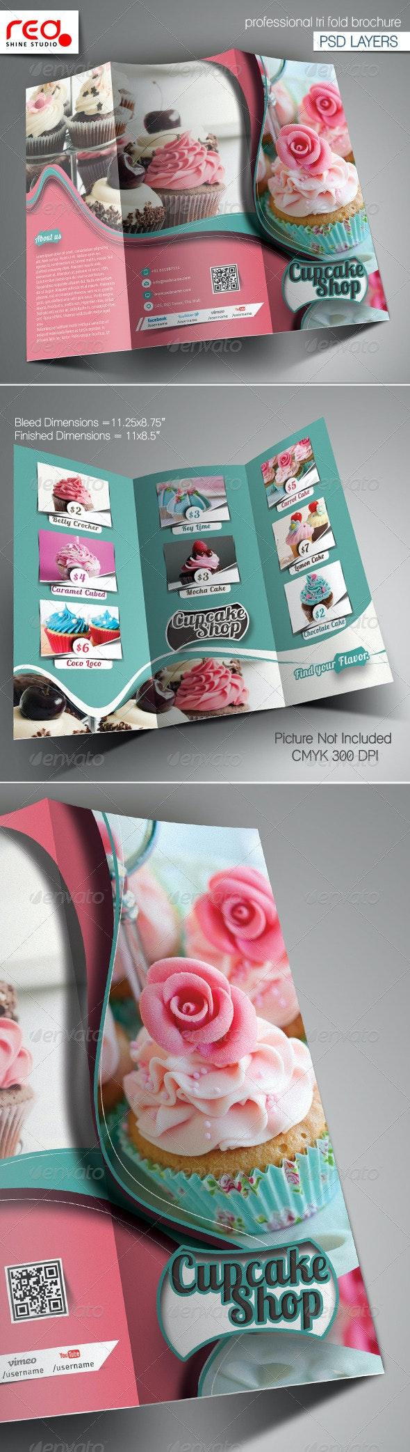 Cupcake & Bakery Shop Trifold Brochure Template - Catalogs Brochures