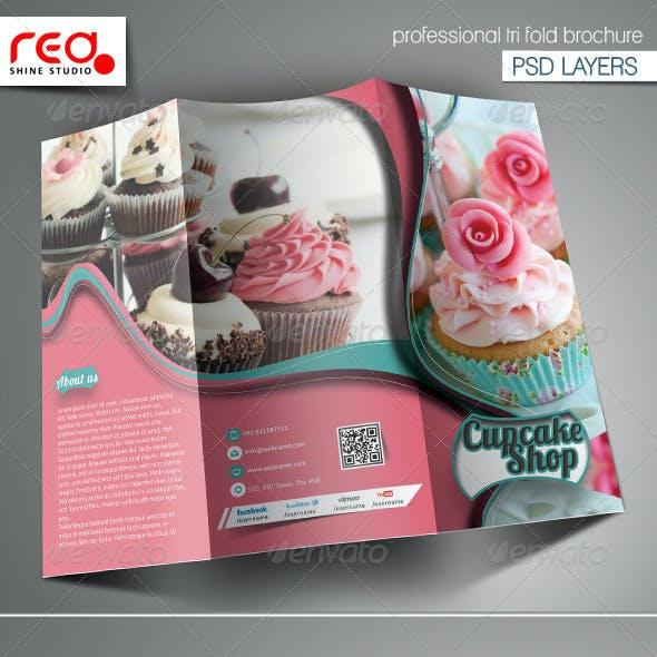 Cupcake & Bakery Shop Trifold Brochure Template