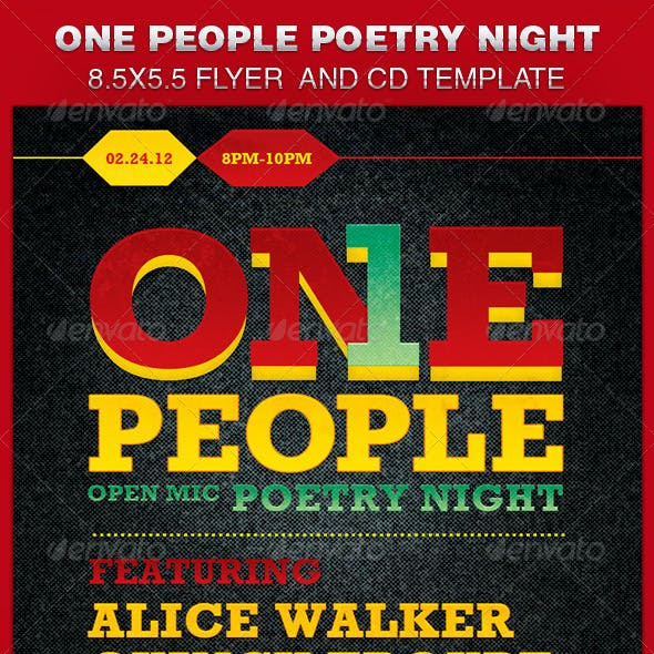 One People Poetry Night Flyer and CD Template