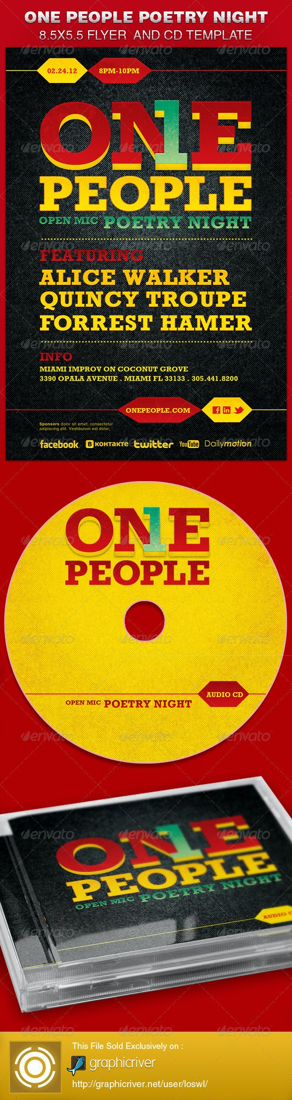 One People Poetry Night Flyer and CD Template - Clubs & Parties Events
