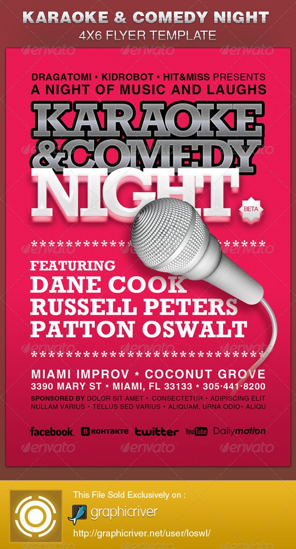Karaoke and Comedy Night Flyer Template - Miscellaneous Events