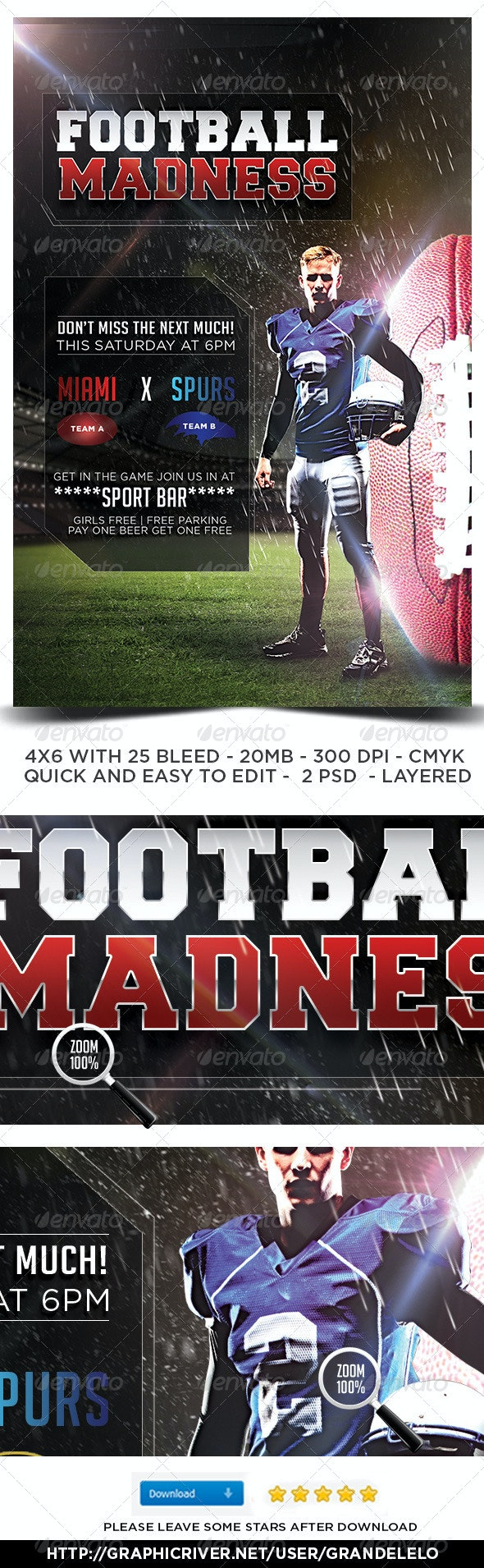 Football Flyer Template - Clubs & Parties Events
