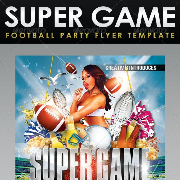Super Game Football Party Flyer Template - UPDATED