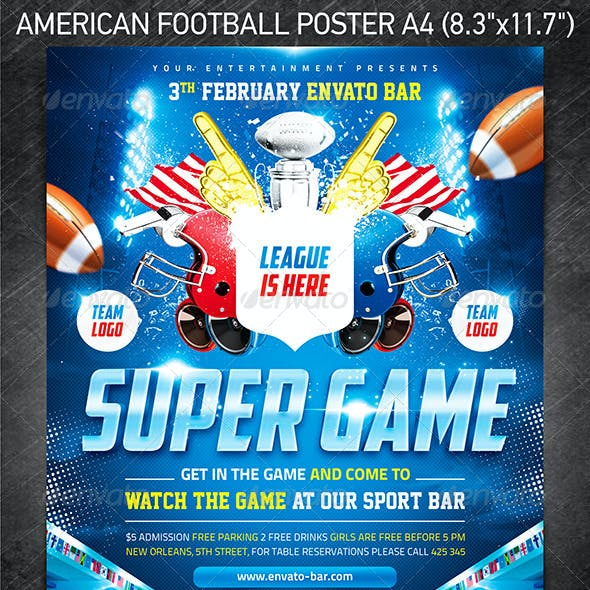 American football Super Game poster