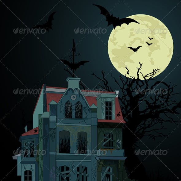 Spooky haunted   house background