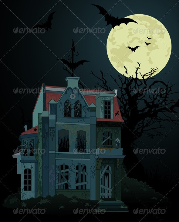 Spooky haunted   house background - Halloween Seasons/Holidays