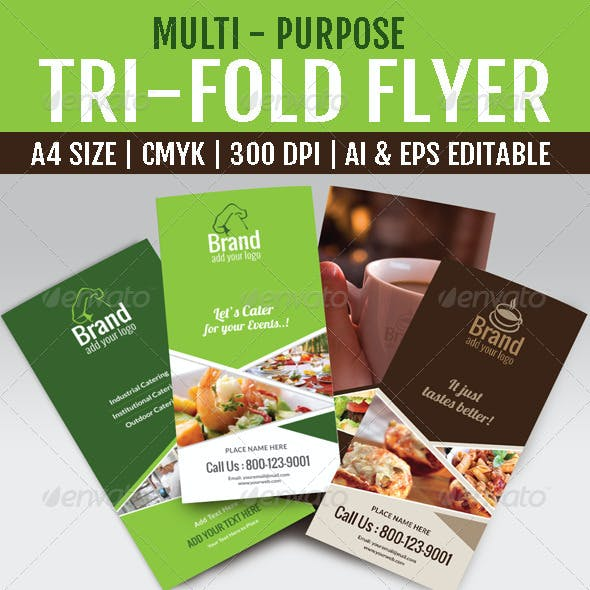 Multi Purpose Tri-Fold Menu Card