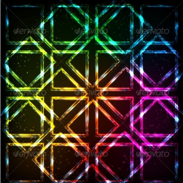 Shining Neon Lights Rainbow Squares Background