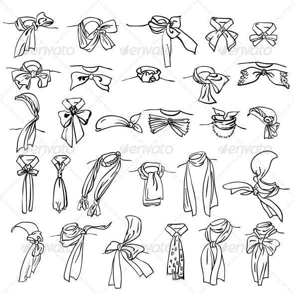 Set of Different Neckerchiefs