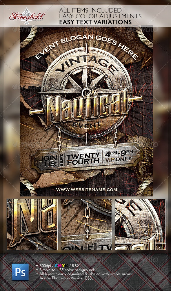 Vintage Nautical Travel Flyer Template - Events Flyers