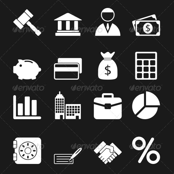 White Business Icons Set