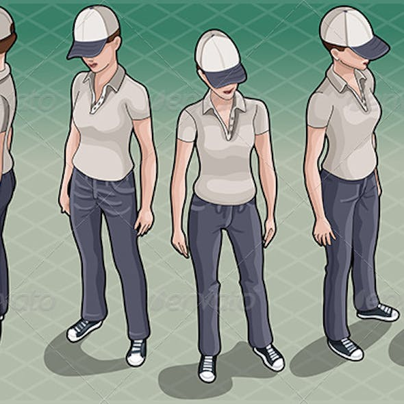 Isometric Service Woman in Five Positions