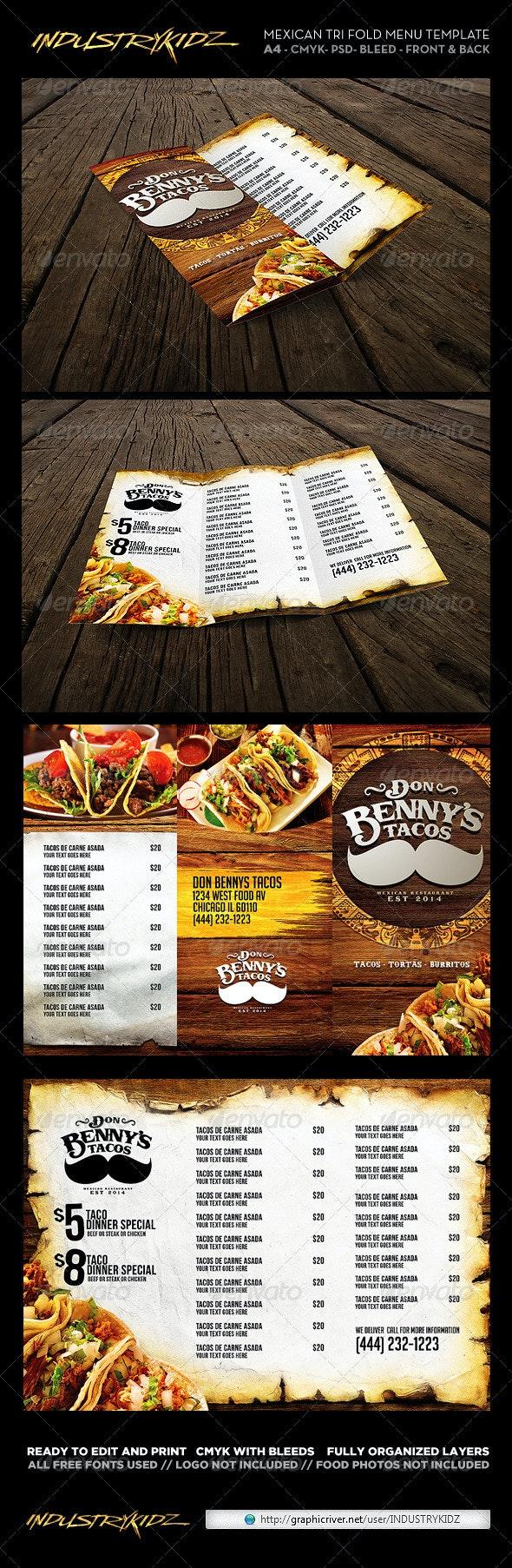 Trifold Mexican Menu Template - Food Menus Print Templates