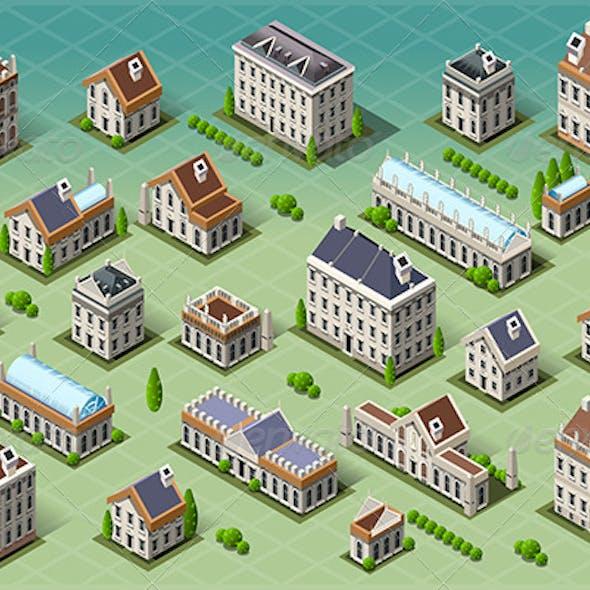 Set of Isometric European Buildings