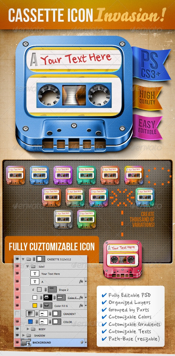 Customizable Cassette Icon - Objects Icons