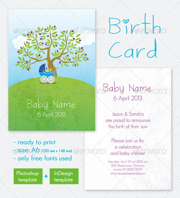 Birth Card / Baby Shower Invitation - Family Cards & Invites