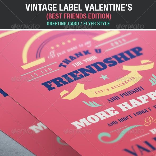 Vintage Label Friends & Love Valentine's Edition
