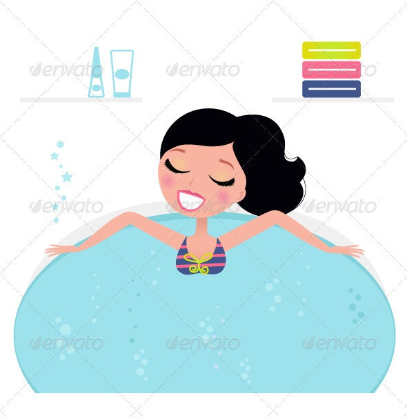 Cute woman relaxing in jacuzzi, spa accessories  - Health/Medicine Conceptual