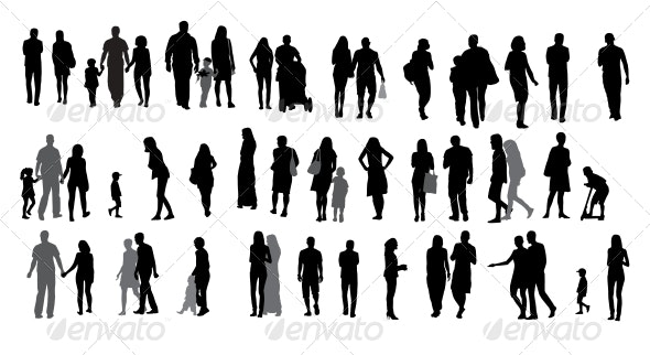Set of Silhouette Walking People and Children. - People Illustrations