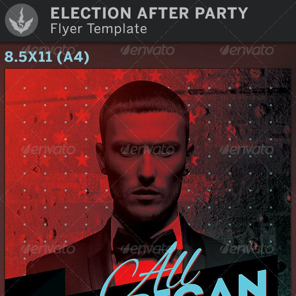 All American Election After Party Flyer Template