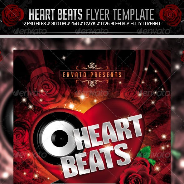 Heart Beats Valentines Party Flyer