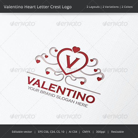 Valentino Heart Letter Crest Logo